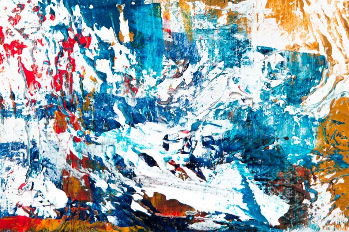 blue white red and yellow abstract painting
